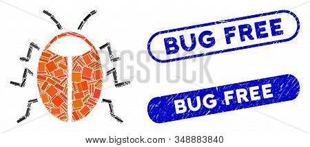 Mosaic Bug And Grunge Stamp Seals With Bug Free Caption. Mosaic Vector Bug Is Formed With Randomized