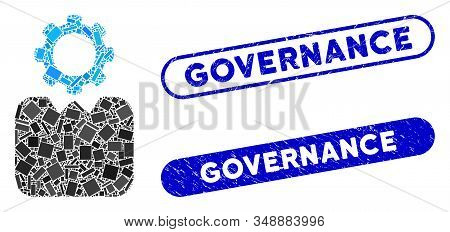 Mosaic Bureaucrat And Distressed Stamp Seals With Governance Phrase. Mosaic Vector Bureaucrat Is For