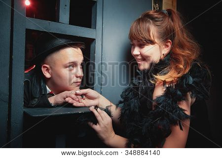 Kirov, Russia - October 05, 2019: Couple Including Girl And Guy In A Prison Cell During A Date. Phot