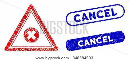 Mosaic Cancel Triangle And Rubber Stamp Seals With Cancel Caption. Mosaic Vector Cancel Triangle Is