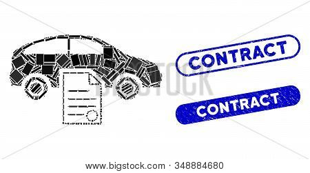 Mosaic Car Sale Contract And Corroded Stamp Seals With Contract Text. Mosaic Vector Car Sale Contrac