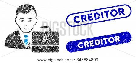 Mosaic Cardano Accounter And Distressed Stamp Seals With Creditor Text. Mosaic Vector Cardano Accoun