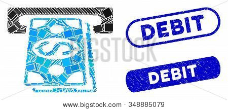 Collage Cash Withdraw And Distressed Stamp Seals With Debit Phrase. Mosaic Vector Cash Withdraw Is C