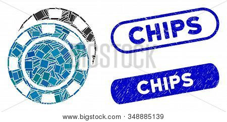 Mosaic Casino Chips And Distressed Stamp Seals With Chips Text. Mosaic Vector Casino Chips Is Create