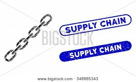 Mosaic Chain And Corroded Stamp Seals With Supply Chain Text. Mosaic Vector Chain Is Designed With S