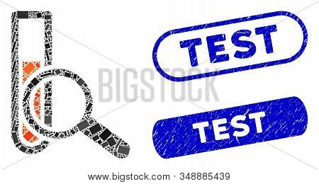 Mosaic Chemical Test And Distressed Stamp Seals With Test Phrase. Mosaic Vector Chemical Test Is Com