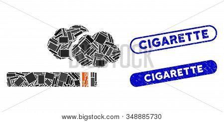Mosaic Cigarette Smoke And Rubber Stamp Seals With Cigarette Text. Mosaic Vector Cigarette Smoke Is