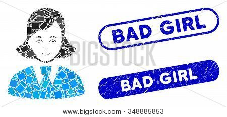 Mosaic Clerk Lady And Distressed Stamp Seals With Bad Girl Caption. Mosaic Vector Clerk Lady Is Desi