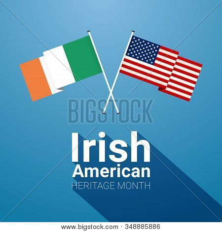 Irish-american Heritage Month Banner Template With Irish And Stars And Stripes Crossed Flags On Blue