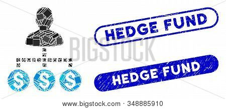 Mosaic Client Payments And Grunge Stamp Seals With Hedge Fund Caption. Mosaic Vector Client Payments