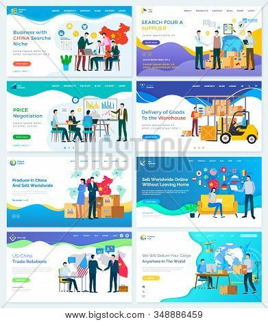Us And China Trade Relations, Search Niche And Supplier. Set Of Website Or Webpage Template. People