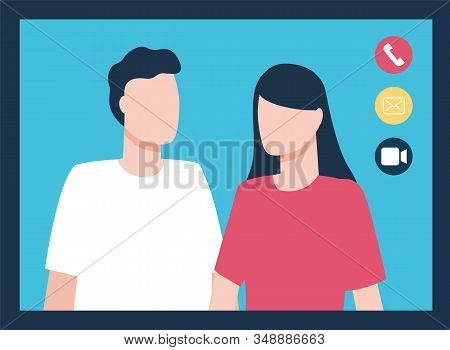 Video Call Or Conference With Couple. Man And Woman On Screen Talking. Online Communication Via Inte