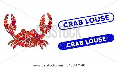 Mosaic Crab And Grunge Stamp Seals With Crab Louse Phrase. Mosaic Vector Crab Is Formed With Randomi