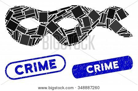 Mosaic Crime Mask And Grunge Stamp Seals With Crime Text. Mosaic Vector Crime Mask Is Composed With