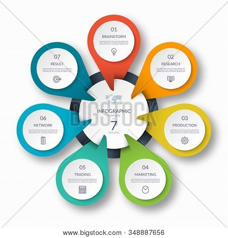 Infographic Circle Diagram Template With 7 Options. Can Be Used As A Chart, Graph, Workflow Layout,