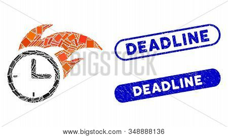Mosaic Deadline Fired Clock And Grunge Stamp Watermarks With Deadline Text. Mosaic Vector Deadline F