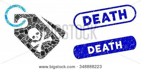 Mosaic Death Tags And Corroded Stamp Watermarks With Death Phrase. Mosaic Vector Death Tags Is Compo