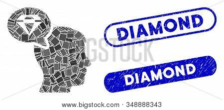 Mosaic Diamond Thinking And Grunge Stamp Seals With Diamond Text. Mosaic Vector Diamond Thinking Is