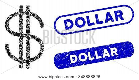 Mosaic Dollar And Grunge Stamp Watermarks With Dollar Text. Mosaic Vector Dollar Is Designed With Ra