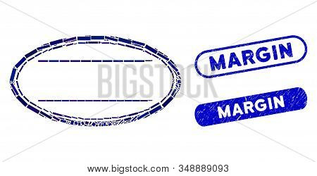 Mosaic Double Ellipse Frame And Distressed Stamp Seals With Margin Text. Mosaic Vector Double Ellips
