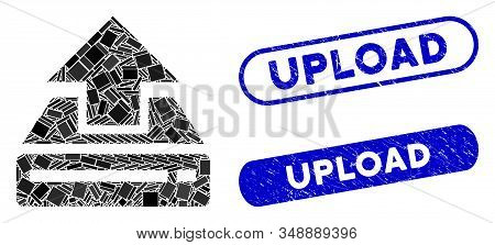 Mosaic Drive Upload And Rubber Stamp Watermarks With Upload Phrase. Mosaic Vector Drive Upload Is De
