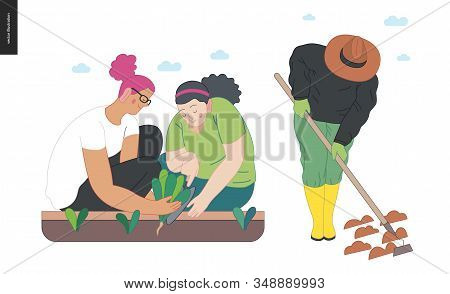 Gardening People Set, Spring - Modern Flat Vector Concept Illustration Of Two Young Women Sitting On