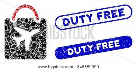 Mosaic Duty Free Bag And Distressed Stamp Seals With Duty Free Text. Mosaic Vector Duty Free Bag Is