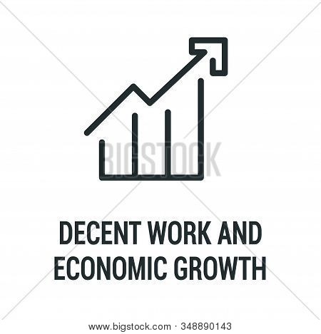Decent Work And Economic Growth Black Icon. Corporate Social Responsibility. Sustainable Development