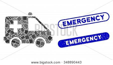 Mosaic Emergency Car And Rubber Stamp Seals With Emergency Phrase. Mosaic Vector Emergency Car Is Cr