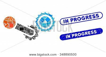 Mosaic Engine And Corroded Stamp Seals With In Progress Phrase. Mosaic Vector Engine Is Formed With