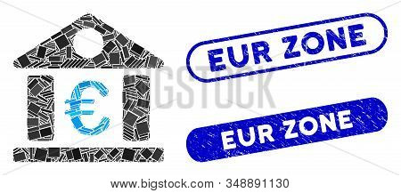 Mosaic Euro Bank Museum And Corroded Stamp Seals With Eur Zone Text. Mosaic Vector Euro Bank Museum