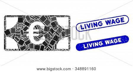 Mosaic Euro Banknote And Rubber Stamp Seals With Living Wage Text. Mosaic Vector Euro Banknote Is Co