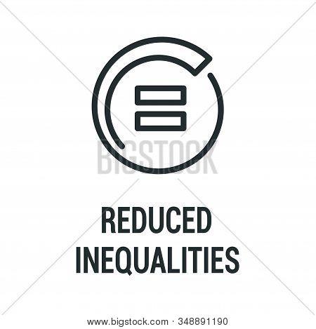 Reduced Inequalities Black Icon. Corporate Social Responsibility. Sustainable Development Goals. Sdg