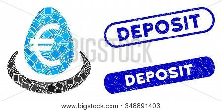 Mosaic Euro Deposit And Corroded Stamp Seals With Deposit Caption. Mosaic Vector Euro Deposit Is Cre