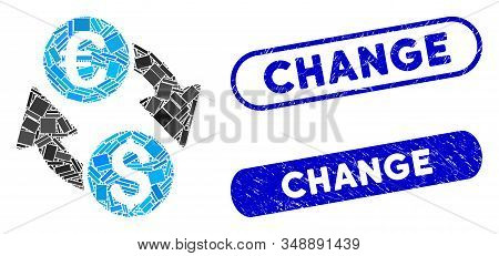 Mosaic Euro Dollar Change And Corroded Stamp Seals With Change Text. Mosaic Vector Euro Dollar Chang