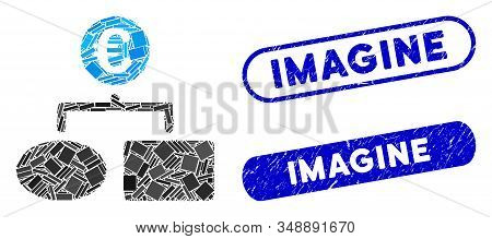 Mosaic Euro Flow Chart And Rubber Stamp Watermarks With Imagine Phrase. Mosaic Vector Euro Flow Char