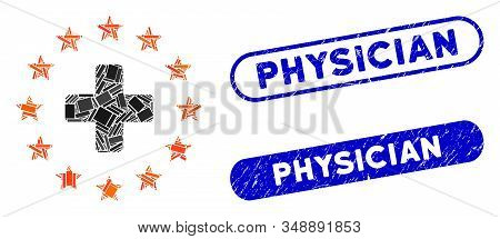 Mosaic Euro Medicine And Corroded Stamp Watermarks With Physician Caption. Mosaic Vector Euro Medici