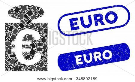 Mosaic Euro Weight And Corroded Stamp Seals With Euro Caption. Mosaic Vector Euro Weight Is Created