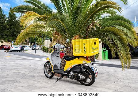 Yellow Mail Motorcycle For Delivery Of Parcels And Letters. 08.01.2020 Tenerife, Canary Islands