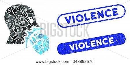 Mosaic Face Violence Strike And Corroded Stamp Seals With Violence Caption. Mosaic Vector Face Viole