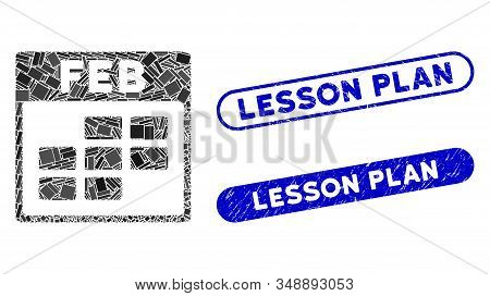 Mosaic February Calendar Grid And Rubber Stamp Seals With Lesson Plan Caption. Mosaic Vector Februar