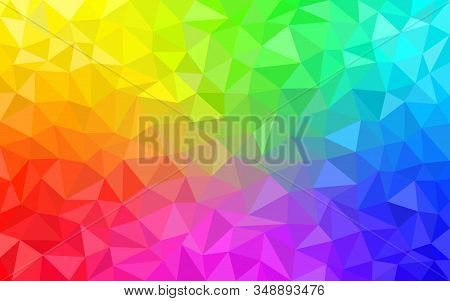 Multicolor Rainbow Low Poly Background. Abstract Random Vector Background From Triangles. Polygonal