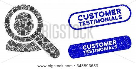 Collage Find User And Corroded Stamp Seals With Customer Testimonials Caption. Mosaic Vector Find Us