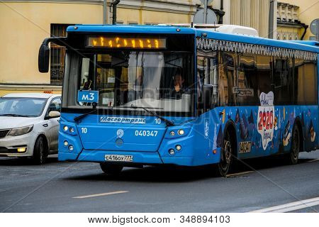 Moscow, Russia - January, 26, 2020: the image of a bus on Mosocw street