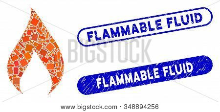 Collage Flame And Distressed Stamp Seals With Flammable Fluid Text. Mosaic Vector Flame Is Formed Wi