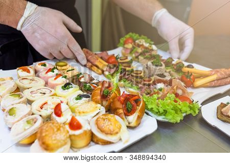 Close Up Of Chef Preparing Food Appetizers Canape Snacks Catering Concept.