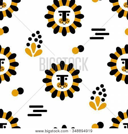 Seamless Pattern With Cute Lion. Doodle Elements . Creative Childish Texture. For Fabric, Textile. V