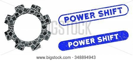 Mosaic Gear And Corroded Stamp Seals With Power Shift Phrase. Mosaic Vector Gear Is Designed With Sc