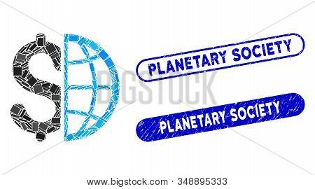 Collage Global Business And Corroded Stamp Seals With Planetary Society Phrase. Mosaic Vector Global