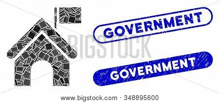 Mosaic Government Building With Flag And Corroded Stamp Seals With Government Text. Mosaic Vector Go
